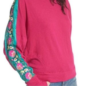 Free People Wallfloral Floral Embroidered Sweater